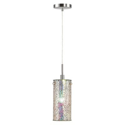 Ceiling Cluster 1-Light Mini Pendant Shade Color: Iridescent Mosaic, Finish: Satin Nickel