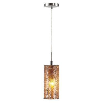 Keiser 1-Light Mini Pendant Finish: Satin Nickel, Shade Color: Amber Mosaic