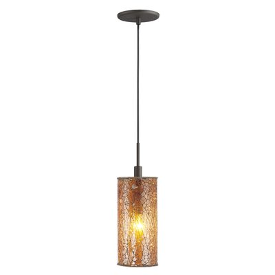 Keiser 1-Light Mini Pendant Finish: Metallic Bronze, Shade Color: Amber Mosaic