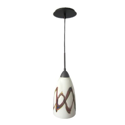 Art Glass 1-Light Mini Pendant Finish: Metallic Bronze, Shade Finish: Picasso