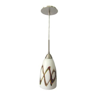 Art Glass 1-Light Mini Pendant Finish: Satin Nickel, Shade Finish: Picasso