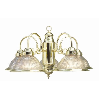 Basic 5-Light Shaded Chandelier Finish: Polished Brass