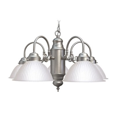 Basic 5-Light Shaded Chandelier Finish: Satin Nickel