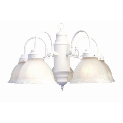Basic 5-Light Shaded Chandelier Finish: White