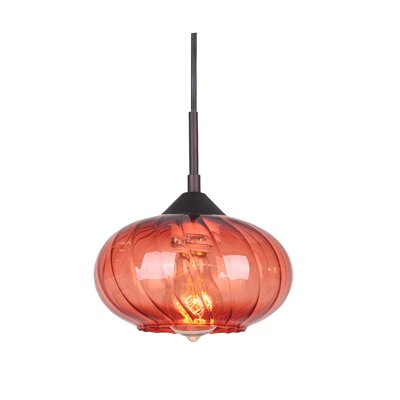 Pulsar 1-Light Mini Pendant Finish: Metallic Bronze, Glass Color: Red