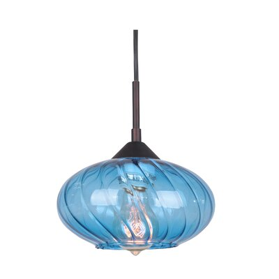 Pulsar 1-Light Mini Pendant Finish: Metallic Bronze, Glass Color: Blue