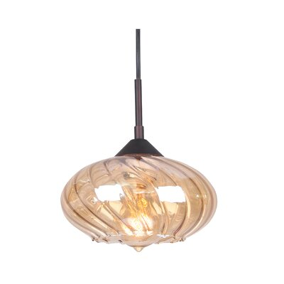 Pulsar 1-Light Mini Pendant Finish: Metallic Bronze, Glass Color: Plated Amber