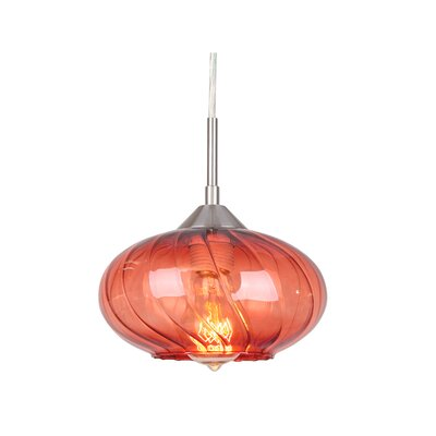 Pulsar 1-Light Mini Pendant Finish: Satin Nickel, Glass Color: Red