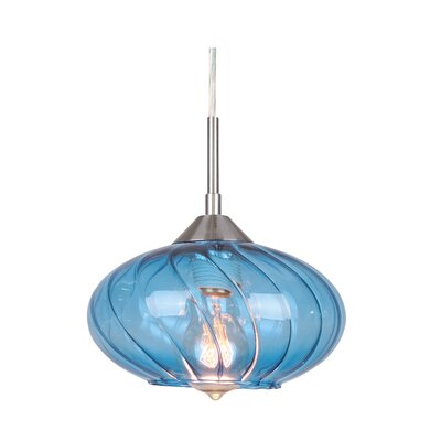 Pulsar 1-Light Mini Pendant Glass Color: Blue, Finish: Satin Nickel