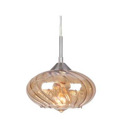 Pulsar 1-Light Mini Pendant Finish: Satin Nickel, Glass Color: Plated Amber