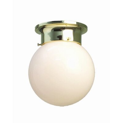 Basic 1-Light Flush Mount Finish: Polished Brass, Glass Color: Opal