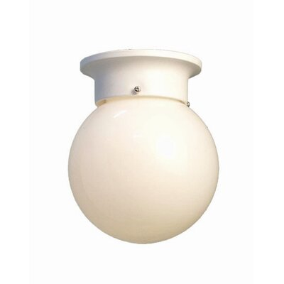 Basic 1-Light Flush Mount Finish: White, Glass Color: Opal