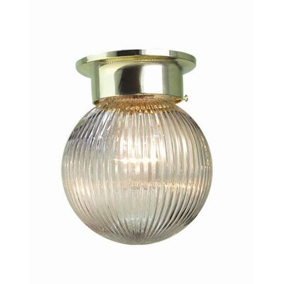 Basic 1-Light Flush Mount Finish: Polished Brass, Glass Color: Clear Prismatic