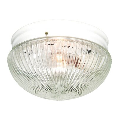Interior Complements 1-Light Flush Mount Finish: White, Glass Color: Clear Prismatic