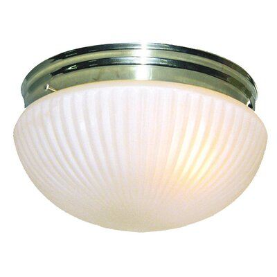 Interior Complements 1-Light Flush Mount Finish: Polished Brass, Glass Color: Opal Prismatic