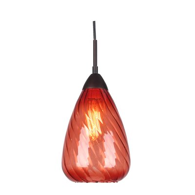 Soak 1-Light Mini Pendant Finish: Metallic Bronze, Glass Color: Red