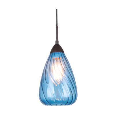 Soak 1-Light Mini Pendant Finish: Metallic Bronze, Glass Color: Blue