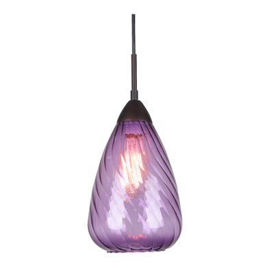 Soak 1-Light Mini Pendant Finish: Metallic Bronze, Glass Color: Purple