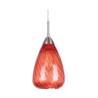 Soak 1-Light Mini Pendant Glass Color: Red, Finish: Satin Nickel