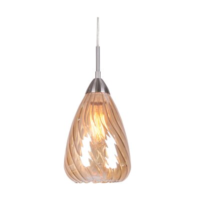 Soak 1-Light Mini Pendant Finish: Satin Nickel, Glass Color: Plated Amber
