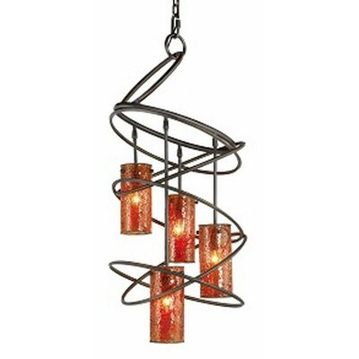 Loop 4-Light Shaded Chandelier Shade: Amber Mosaic