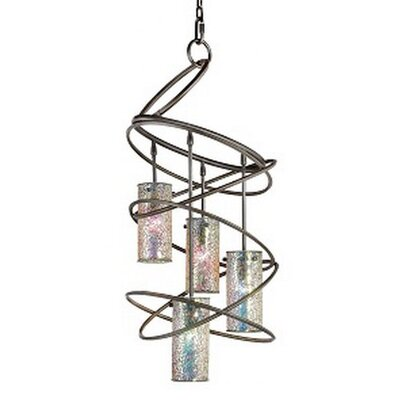 Loop 4-Light Shaded Chandelier Shade: Iridescent Mosaic