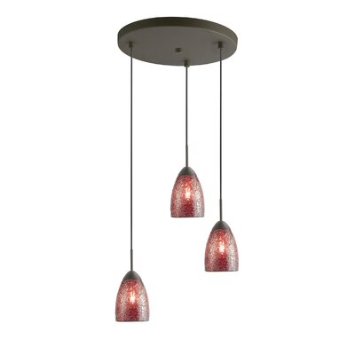 Venezia 3-Light Cascade Pendant Shade Color: Dark Red