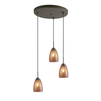 Venezia 3-Light Cascade Pendant Shade Color: Amber Mosaic