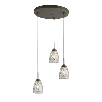Venezia 3-Light Cascade Pendant Shade Color: Clear Mosaic