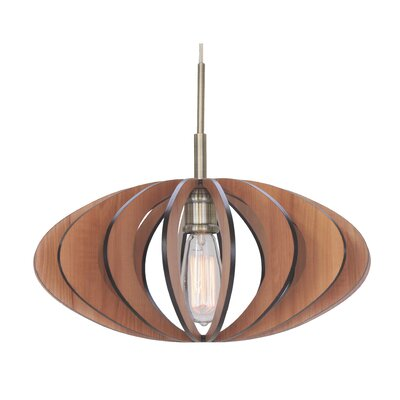 Canopy 1-Light Pendant Finish: Classic Brass, Shade Color: Cherry