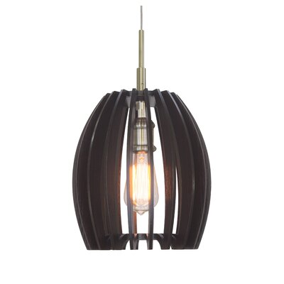 Canopy 1-Light Mini Pendant Shade Color: Wenge, Finish: Classic Brass
