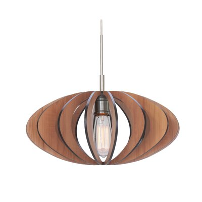 Bair Wicks Canopy 1-Light Pendant Finish: Satin Nickel, Shade Color: Cherry