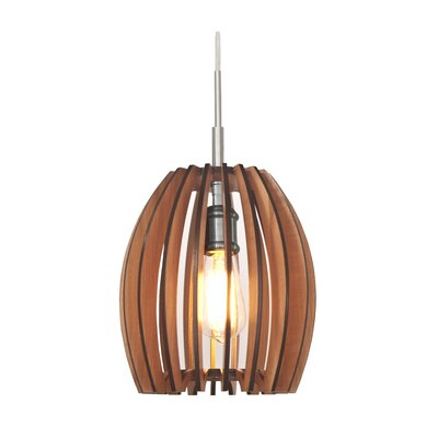 Canopy 1-Light Mini Pendant Shade Color: Cherry, Finish: Satin Nickel
