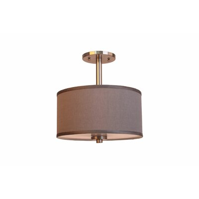 3-Light Semi-Flush Mount Shade Color: Grey