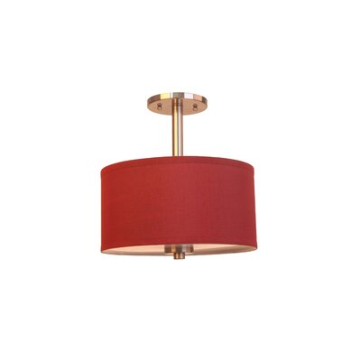 3-Light Semi-Flush Mount Shade Color: Maroon