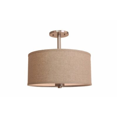 3-Light Semi-Flush Mount Shade Color: Beige