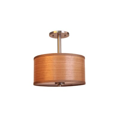 3-Light Semi-Flush Mount Shade Color: Brulee