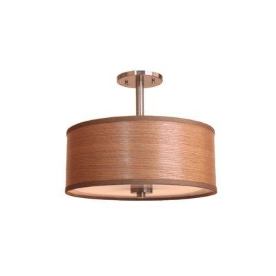 3-Light Semi-Flush Mount Shade Color: Brulee