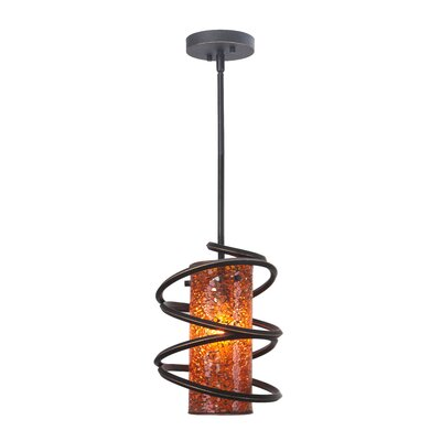 Loop 1-Light Mini Pendant Shade Color: Amber Mosaic