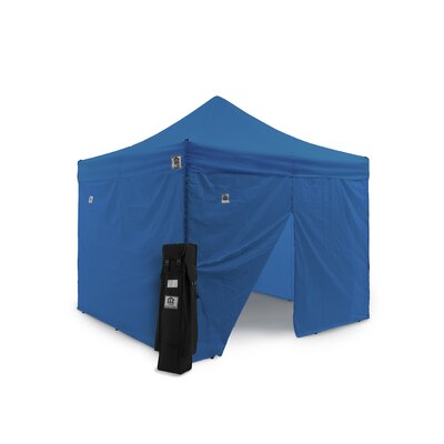 AOL 10x10 EZ Pop Up Canopy Tent Aluminum Commercial Instant Shelter w/Sidewalls Color: Blue