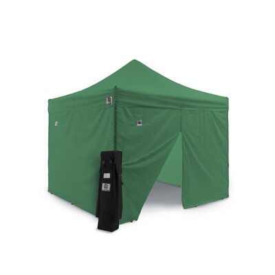 AOL 10x10 EZ Pop Up Canopy Tent Aluminum Commercial Instant Shelter w/Sidewalls Color: Green