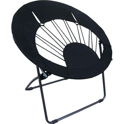 Bungee Chair Folding Dorm Lounge Chair Upholstery Color: Black