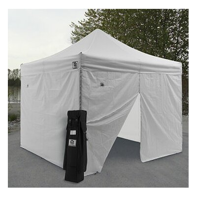 AOL 10x10 EZ Pop Up Canopy Tent Aluminum Commercial Instant Shelter w/Sidewalls Color: White