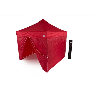 AOL 10x10 EZ Pop Up Canopy Tent Aluminum Commercial Instant Shelter w/Sidewalls Color: Red