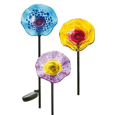 Speckled Glass Solar Flower 3 Piece Garden Stake Set 2SP4100