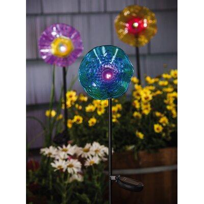 3 Piece Speckled Glass Solar Flower Garden Stake Set 2SP4100