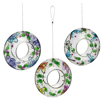 3 Piece Painted Butterfly Glass Circle Decorative Bird Feeder Set (Set of 3) 2BF621