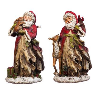 2 Piece Natural Elements Santa Statue Set
