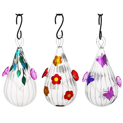 3 Piece Tear Drop Hummingbird Feeder Set 2HF182