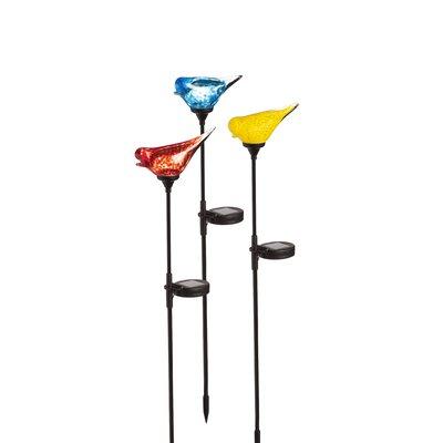 Solar Glass Bird Top Garden Stake 2SP4284